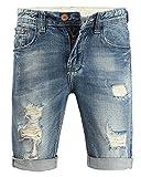 Minetom Elasticizzati da Uomo Estivo Sciolto Gamba a Tubo Denim Jeans Spiaggia Pantaloni Corti Bermuda Pantaloncini Blu 31