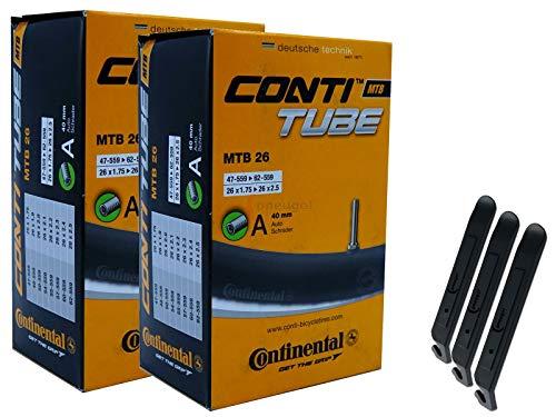 pneugo! Continental 47-62/559 A40 - Juego de 2 cámaras de aire para bicicleta de montaña (26', incluye 3 desmontadores)