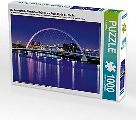 Premium Tessile della tela 45cm x 30cm Croce Die illuminato finnies Ton ponte sul fiume Clyde di notte