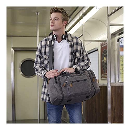 Borsa da uomo in tela espandibile da uomo, grande borsa da uomo da uomo 40L / 50L, con tasche multiple, sacchetto di fine settimana notturno, adatto per uomini e donne bagaglio da viaggio, borse da we
