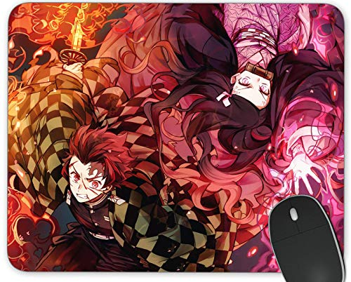 Gaming Mouse Pad , Personalized Design Anime Mousemat Non Slip Rubber Mouse Pads Office Rectangle and Round Mouse Mat (Demon Slayer Tanjiro)