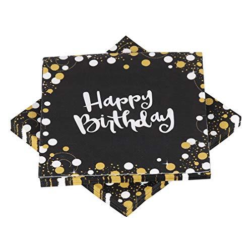 O-Kinee Servietten Geburtstag Schwarz Gold, Happy Birthday Servietten, Hochwertige Papierservietten Schwarz 33x33cm für Junge Mann Geburtstag Party Deko Supplies, 32 Stück