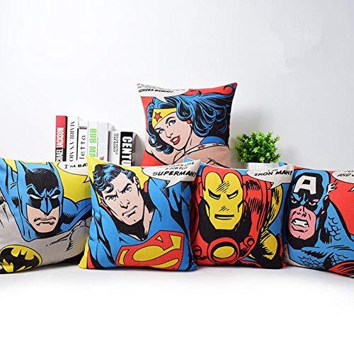 ZHAOCC Funda de cojín Juego de 5 American Movie Style Superhéroe American Superman Iron Man Batman Decoración Throw Pillowcase 45X45Cm