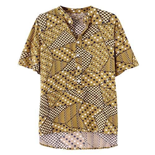 ODRD HOT SALE Herren T Shirts, Oversize Shortsleeve Mens Ethnic Printed Stehkragen Bunte Streifen Kurzarm Loose Shirt Vintage Jugend Blouse Tops Basic Shirt Clearance Sale