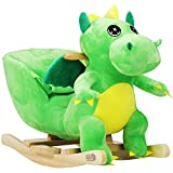 Dinosaure à Bascule Animal à Bascule Ceinture de sécurité Fonction sonore Jeu de Bascule Enfant Peluche Cheval à Bascule