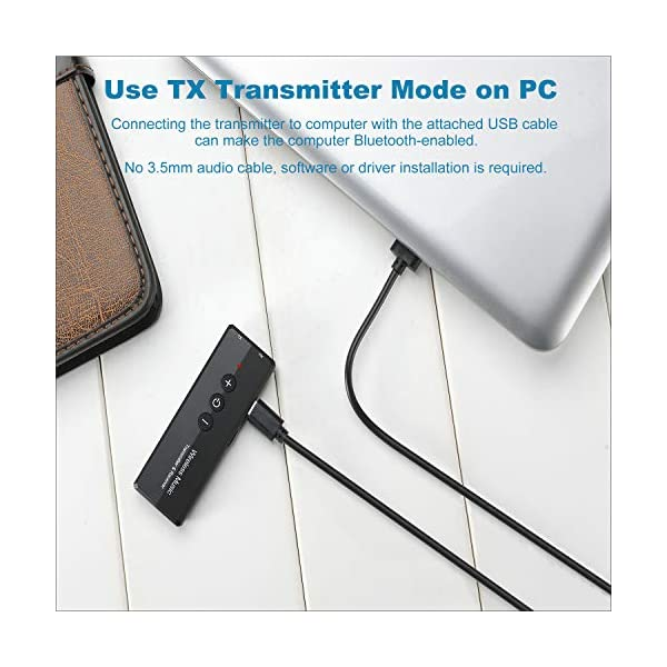 Bluetooth 5.0 Transmitter Receiver 3-in-1, Isobel Wireless 3.5mm Audio Adapter for TV PC Headphones Home Sound System Car/CD-Like Voice Enjoyment 5