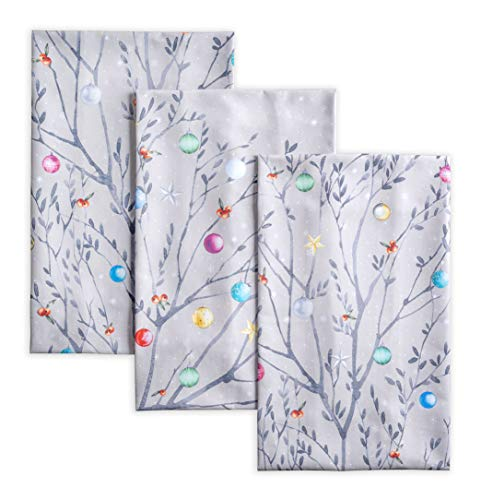 Maison d' Hermine Fairy Christmas 100% Cotton Set of 3 Multi-Purpose Kitchen Towel Soft Absorbent Dish Towels | Tea Towels | Bar Towels | Thanksgiving/Christmas (20 Inch by 27.50 Inch)