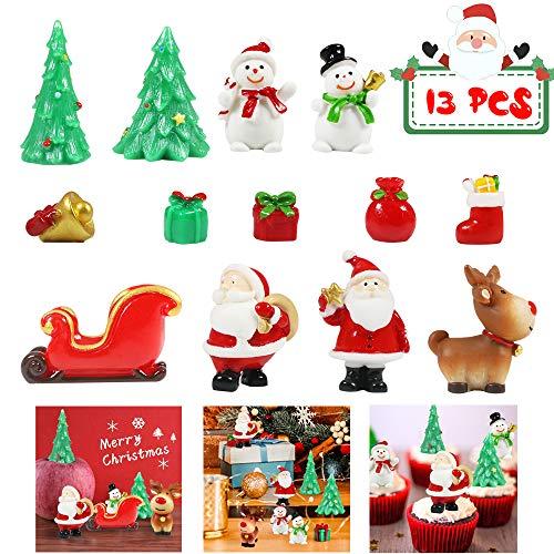 MMTX 13 Pezzi Miniature Decorazioni Natalizie Statuetta in Resina, Mini Natale Regalo Babbo Natale Alberello Natale, Natalizi Oggettini Paesaggio Decorazione di Casa Bambole Fai da Te da Giardino