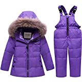 SANMIO Baby Boys Girls Two Piece Snowsuit, Toddler Winter Hooded Puffer Down Jacket Coat with Ski Bib Pants Purple