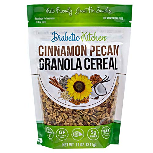 Diabetic Kitchen Cinnamon Pecan Granola Cereal, 3g Net Carbs, Keto Friendly, Low Carb, No Sugar Added, Gluten-Free, 5g Fiber, Non-GMO, No Artificial Sweeteners or Sugar Alcohols (11 oz)