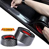 TourKing Door Entry Guards Scratch Cover Protector Paint Threshold Guard,Carbon Fiber Rubber car Bumper Door Guard/Rear Bumper Guard Scratch Scratch Protection Strip 100% Waterproof(2.5M5CM)