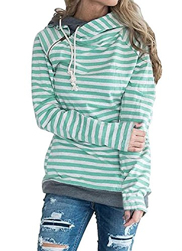 Asskdan Damen Gestreift Pulli Sweatshirts Hoodie Sport Langarm Reißverschluss Pullover Outerwear (EU 40/L, Grün)