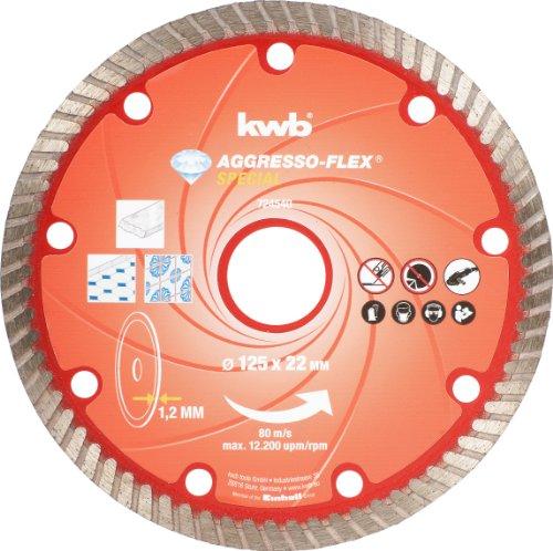 Kwb 721140 Diamantdoorslijpschijf (snijden van graniet, marmer en keramiek, voor standaard haakse slijper, turborand) 125 mm rood