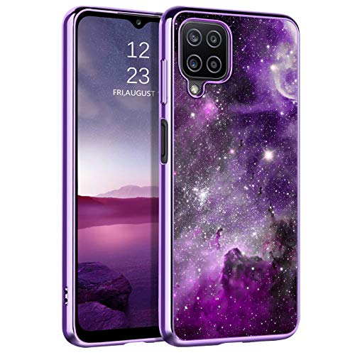 BENTOBEN Compatible with Samsung Galaxy A12 Case, Slim Fit Glow in The Dark Hybrid Hard PC Soft TPU Bumper Drop Protective Girls Women Men Phone Cover for Samsung A12 6.5', Purple Galaxy