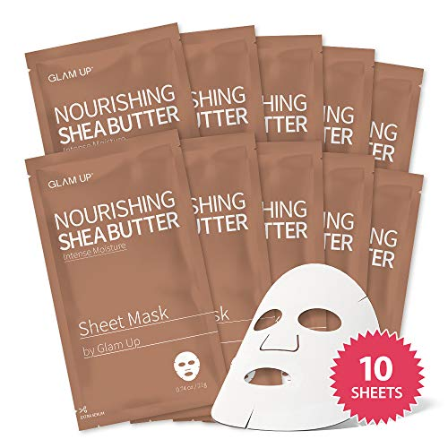 Sheet mask by glam up BTS Nourishing Shea Butter - Intense Moisture for Dry Skin. Nature made Freshly packed Daily Skin Therapy Original K-Beauty Recipe x 10ea