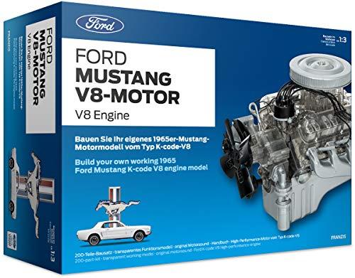 FRANZIS Ford Mustang V8-Motor |  200-Teile Bausatz - transparentes, voll funktionsfähiges Motormodell und reich bebildertes Handbuch | Basteln für Auto Fans | Ab 14 Jahren