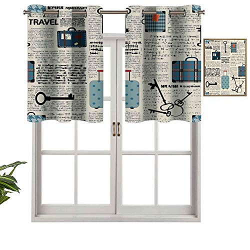 Hiiiman Premium Grommet Valance Curtain Panel Retro Style Travel Vacation Theme Vintage Suitcases Keys Dot Text, Set of 2, 42'x36' for Indoor Decoration