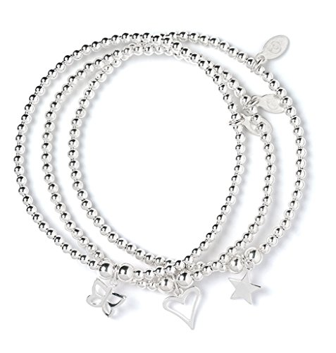 bumble beads Set of 3 Sterling Silver 'Rice & Noodle' Ball Bead Bracelets- Heart, Butterfly and Star