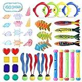 Gimsan Giocattolo per piscina per bambini, 40 pezzi, giocattolo subacqueo, per immersioni, immersioni, alghe, bastoni per immersioni, pietre preziose estive, per immersioni, divertimento per bambini
