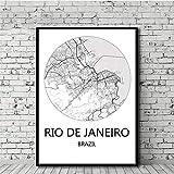 Amokr Leinwand Bilder 50x70cm kein Rahmen Weltstadtplan Rio