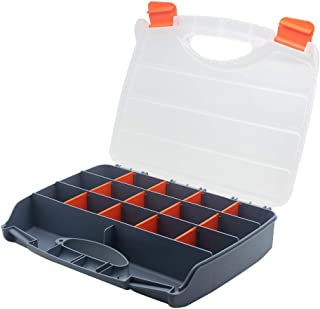 BangQiao Plastic Storage Box Organizer Container with Handle and Clear Lid, 15 Adjustable Compartments and 2 Fixed Sections for Screws, Nails, Nuts, Bolts, Fishing Tackle, Gray Orange Clear