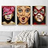 sanzangtang Rahmenlose Malerei Europäische Frau niedlichen Ausdruck Bar Leinwand dekoriert Wohnzimmer Poster Home DecorationAY4442 30X45cmx3