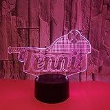Tianyifengg 3D-LED-7 Couleur-télécommande Control-Night lumière-Couleur Tennis Raquette Lampe de Table décoration de la Maison bébé Sommeil éclairage Enfants Cadeau de noël Nouvel an