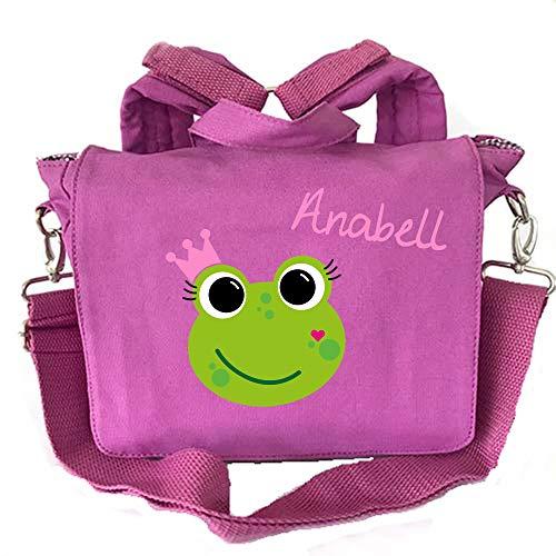 2in1 Kindergartenrucksack mit Namen | personalisiert & Bedruckt | Motiv Frosch-königin Krone rosa| Kindergartentasche Rucksack Tragetasche Kinder | Canvas-Tasche Navy viele Farben (Beere)