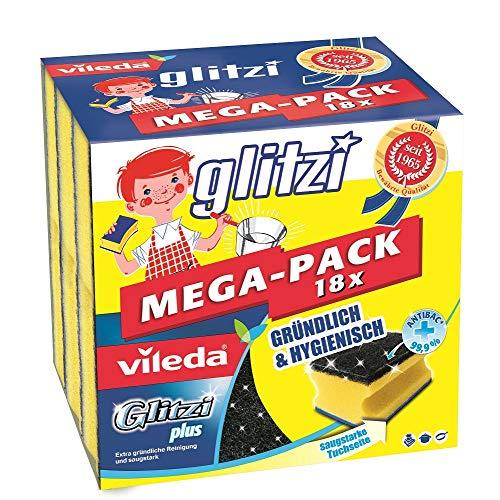 Vileda Glitzi Plus Topfreiniger, mit Antibac-Effekt gegen Bakterien, saugstark (18 Stück)