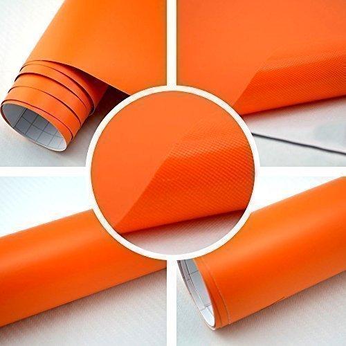 TipTopCarbon 6,58€/m² Autofolie Matt Orange 0,3m x 1,52m Auto Folie BLASENFREI mit Luftkanälen 3D Flex