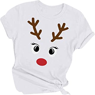 Remanlly Women's Christmas Reindeer Letter Printed T-Shirt Short Sleeve O-Neck Casual Raglan Pullover Graphic Tees