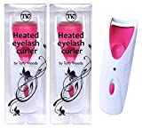 Heated Eyelash Curler – 2 Pack Automatic, Battery Operated, Easy to Use, Suitable for All Lashes, Long Lasting, Slim and Portable, ABS Material, Perm Curler (Pink)