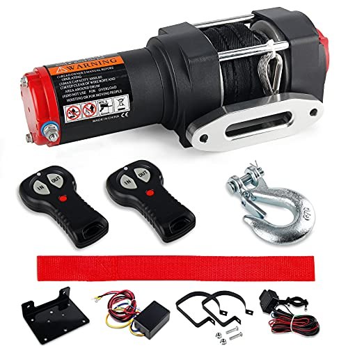 3000 lb. Load Capacity Electric Winch Kit, 12V Synthetic Rope Winch, Waterproof Electric Winch Recovery kit with Handheld Wireless Remote Control for ATV UTV Off-Road Trailer Ship Traction Winch