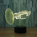 Schreibtischlampe Kinder,Instrumenten Trompete 3D Led Nachtlicht Farbwechsel Schreibtisch Tischlampe...