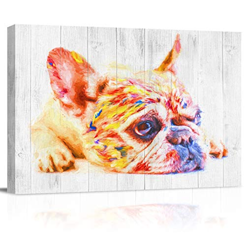 T&H XHome Bathroom Wall Art Decor Canvas Oil Painting,Graffiti French Bulldog Wood Grain Modern Artwork Picture Prints Frame for Nursery Office Living Room Bedroom 20x24