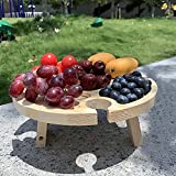 Mesa de Picnic Plegable de Madera al Aire Libre,Plato de Madera para Frutas con Soporte de Vidrio,Mesa de Picnic portátil y Plegable para Acampar,Platos creativos para delicatessenS - Square Leg