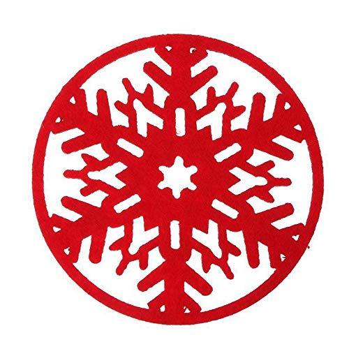 Schneeflocke Cup Coaster Kissen Tischset Pad Dekorationen Home Weihnachten Weihnachtsdekoration Handwerk Geschenk Weihnachtsdeko Idea Weihnachtskrippe Aus Mit Bunten Spielfiguren (rote,Freie Größe)