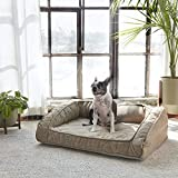 Brentwood Home Runyon Orthopedic Pet Bed, Puppy Dog Couch, Washable Cover, Waterproof Liner, Non-Toxic, Memory Foam Sofa for Dogs and Cats, Made in California, Sandstone, Large