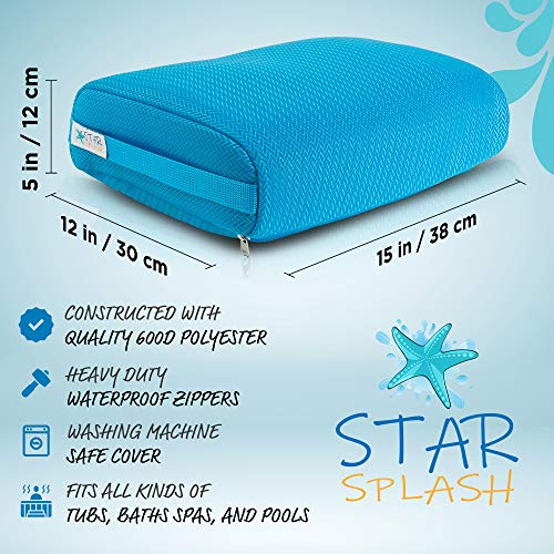 STAR SPLASH Hot Tub Booster Seat, 15 x 12 x 5 Inches - Hot Tub Pillow with Non-Slip Micro Dot Bottom and 6 Weighted Sections - Quick Dry Bath Accessories for Indoor or Outdoor Hottub