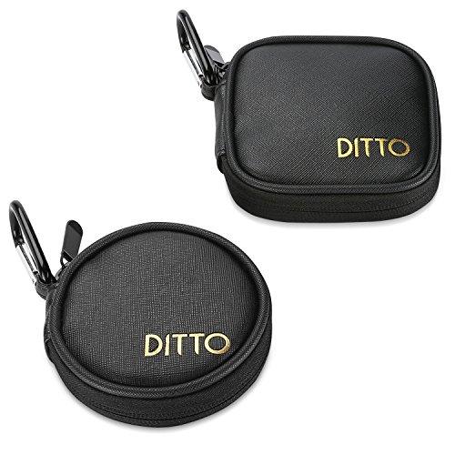 Ditto hoofdtelefoonhoes, draagtas voor oortelefoon, draagtas met karabijnhaak voor earpods MP3-kabel/draadloze koptelefoon SD-TF-kaart en USB-kabel, 2 stuks, zwart