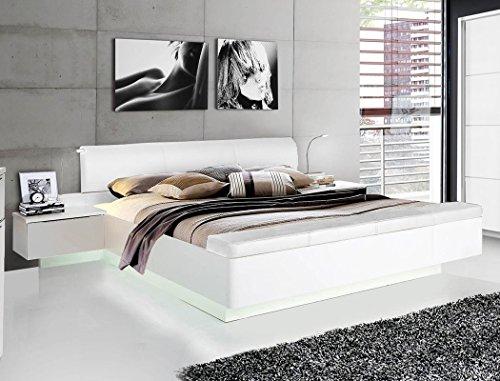 expendio Doppelbett Sophie 1 weiß teilweise Hochglanz 180x200 Ehebett mit 2X Nachtkonsole Beleuchtung Bett Bettgestell Nachttisch Nako