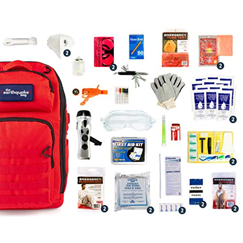 Complete Earthquake Bag - Emergency kit for earthquakes, hurricanes, floods + other disasters (2 person, 3 days)