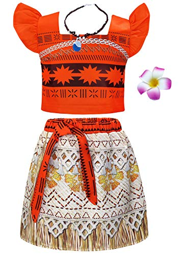 AmzBarley Kinder Mädchen Kleid Moana Kostüm Abenteuer Outfit Cosplay Kleidung Halloween Karneval Party