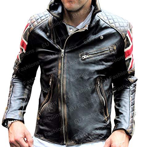EU Fashions Chaqueta de piel para hombre, estilo vintage, para motocicleta, color marrón