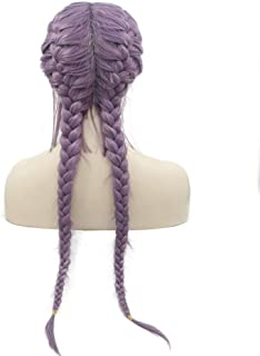 Purple Braided Wigs with Baby Hair High Temperature Fiber Synthetic Lace Front Wigs for Women Female Lilac Lavender Natural 2x Twist Double Braids Drag Queen Wigs