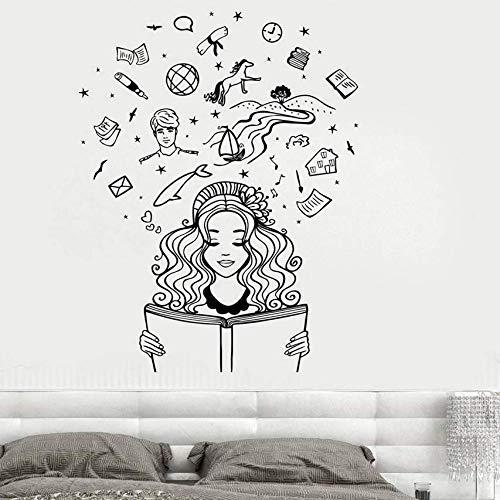 Gcbpwh Fotomurale Ragazza Lettura Di Un Libro Immaginazione Fantasy Fiaba Romantico Adesivo Da Parete Per Camera Da Letto Soggiorno Casa 42X54Cm