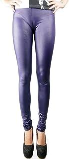 e280bfe061 Pantalon legging Locomo en similicuir, taille haute, semi brillant, couleur  unie, FFT215DBLU