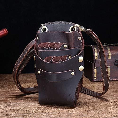 Kapper gereedschapstas retro kapperstas leer schaar pouch holster kapperstas gereedschap met riem, kan 6 scharen opnemen. Color4.