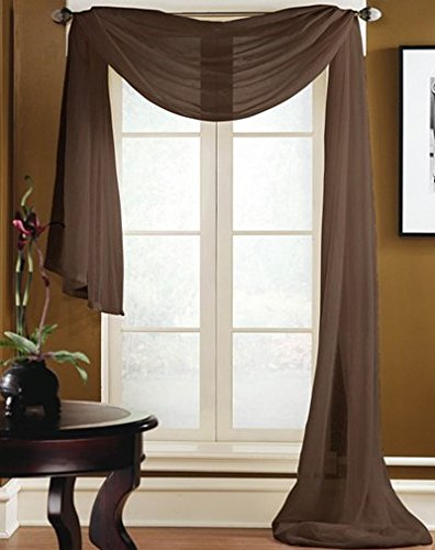 Gorgeous Home 1 PC Solid Brown Scarf Valance Soft Sheer Voile Window Panel Curtain 216' Long Topper Swag