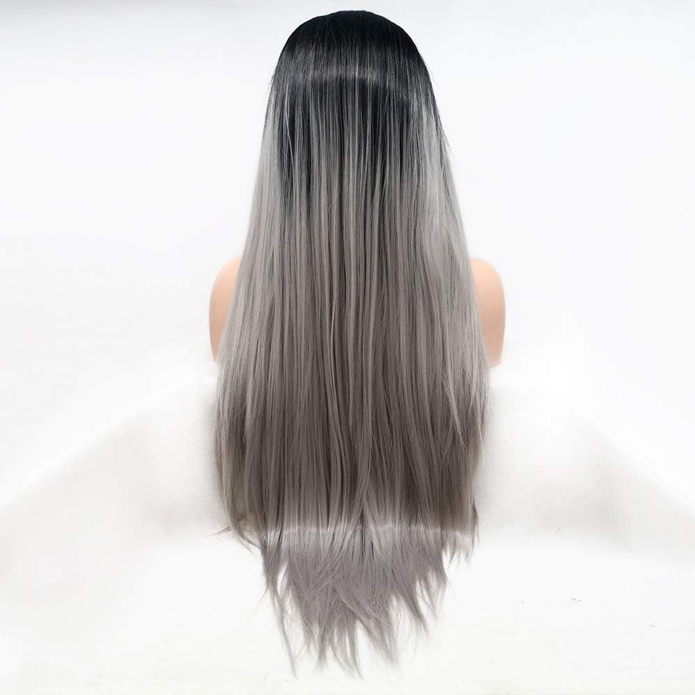 BAOBUM Oakland Mall Wigs Black-Gray Gradient Long Hair lac Wig Women Max 64% OFF Handmade